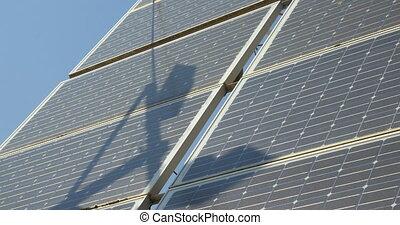 Solar battery panels - Steadicam shot of solar panels....