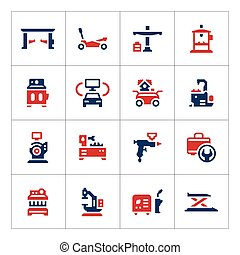 Set color icons of car service equipment isolated on white....