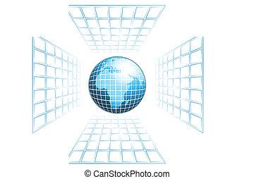 world globe  - globe with gitter frame