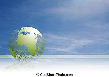 green gitter world  - world globe against nice cloudy sky
