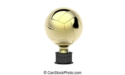 Gold volleyball trophy spin on white background