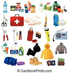 Survival Kit Icons - A vector illustration of survival kit...