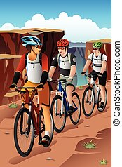 Bikers in the Mountain - A vector illustration of mountain...