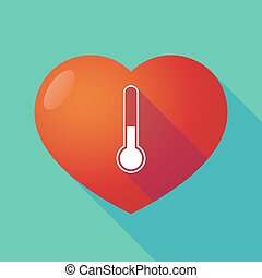Long shadow red heart with  a thermometer icon