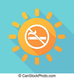 Long shadow sun with a no smoking sign - Illustration of a...