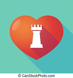 Long shadow red heart with a rook chess figure -...