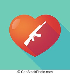 Long shadow red heart with a machine gun sign - Illustration...
