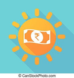 Long shadow sun with a rupee bank note icon - Illustration...