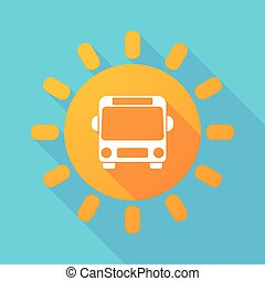Long shadow sun with  a bus icon