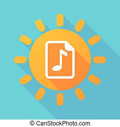 Long shadow sun with a music score icon - Illustration of a...