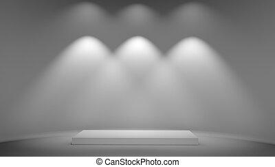 White podium on grey background