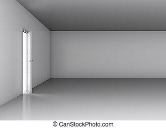 White opened door in empty room