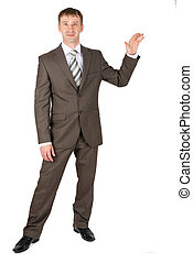 Business man presenting something on white background