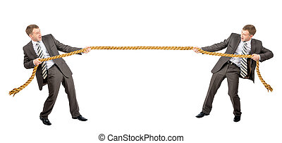 Tug war, two businessman pulling rope in opposite directions...
