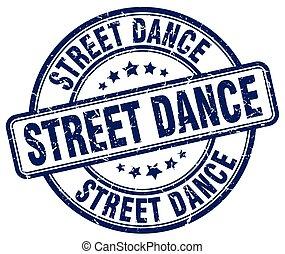 street dance blue grunge round vintage rubber stamp