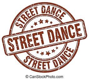street dance brown grunge round vintage rubber stamp