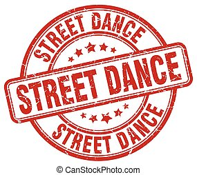 street dance red grunge round vintage rubber stamp