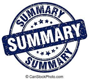summary blue grunge round vintage rubber stamp