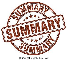 summary brown grunge round vintage rubber stamp