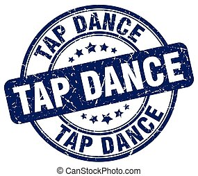 tap dance blue grunge round vintage rubber stamp