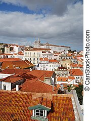 Sao Vicente de Fora church in Lisbon - beautiful cityscape...