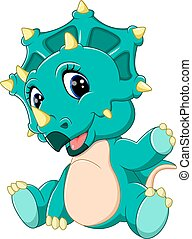 cute baby Triceratops cartoon - lustration of cute baby...