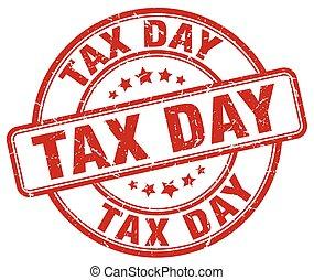 tax day red grunge round vintage rubber stamp