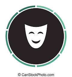 comedy mask computer symbol - comedy mask Simple flat white...