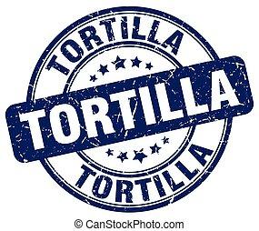 tortilla blue grunge round vintage rubber stamp