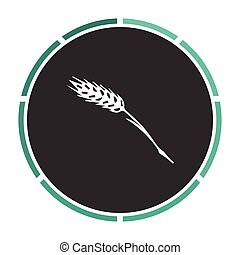 Wheat computer symbol - Wheat Simple flat white vector...