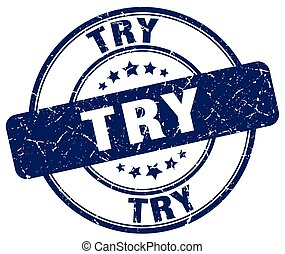 try blue grunge round vintage rubber stamp