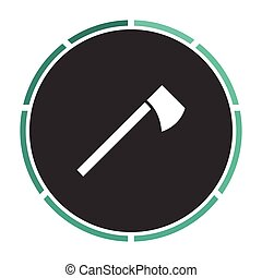 hatchet computer symbol - hatchet Simple flat white vector...