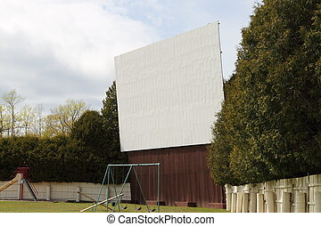 Drive In Movie Theater Screen - A vintage drive in movie...