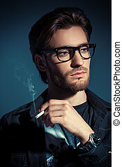 serious man - Attractive young man thoughtfully and calmly...