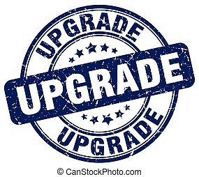 upgrade blue grunge round vintage rubber stamp