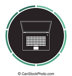 netbook computer symbol - netbook Simple flat white vector...
