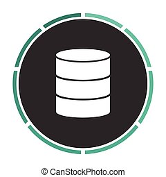 Database computer symbol - Database Simple flat white vector...