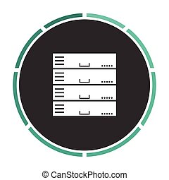 Server computer symbol - Server Simple flat white vector...