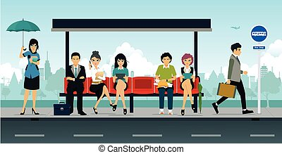 Bus Stop - Employees and people were sitting at the bus...