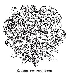Hand drawn peony flowers bouquet
