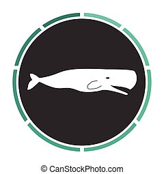 whale computer symbol - whale Simple flat white vector...