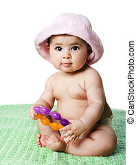 Baby girl sitting - Beautiful cute Caucasian Hispanic baby...