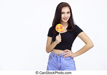 Happy Young Woman with lolipop Isolated On White Background