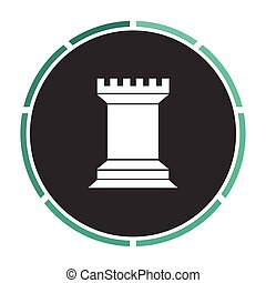 Chess Rook computer symbol - Chess Rook Simple flat white...