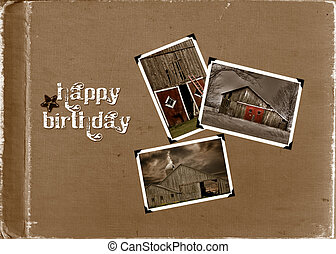 Birthday Album - Snapshots of old barns on textured...