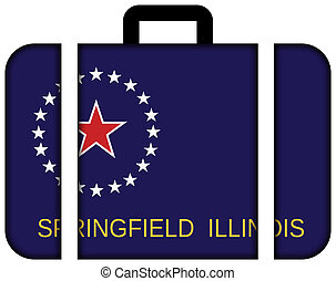 Flag of Springfield, Illinois. Suitcase icon, travel and...