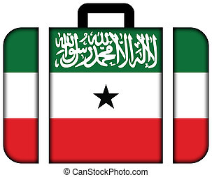 Flag of Somaliland. Suitcase icon, travel and transportation concept