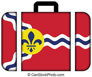 Flag of St Louis, Missouri Suitcase icon, travel and...