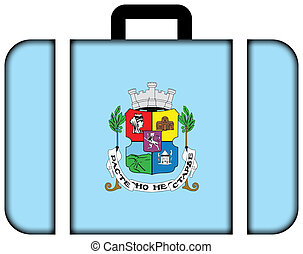 Flag of Sofia. Suitcase icon, travel and transportation concept