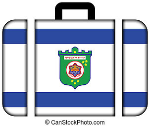 Flag of Tel Aviv Suitcase icon, travel and transportation...